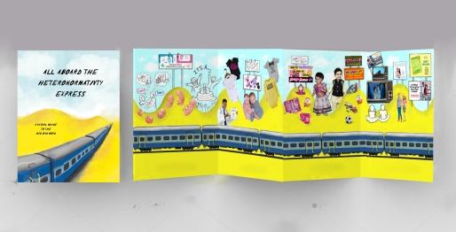 A5 Accordion fold brochure, ten page leaflet, concertina fold. blank white 3d render illustration.